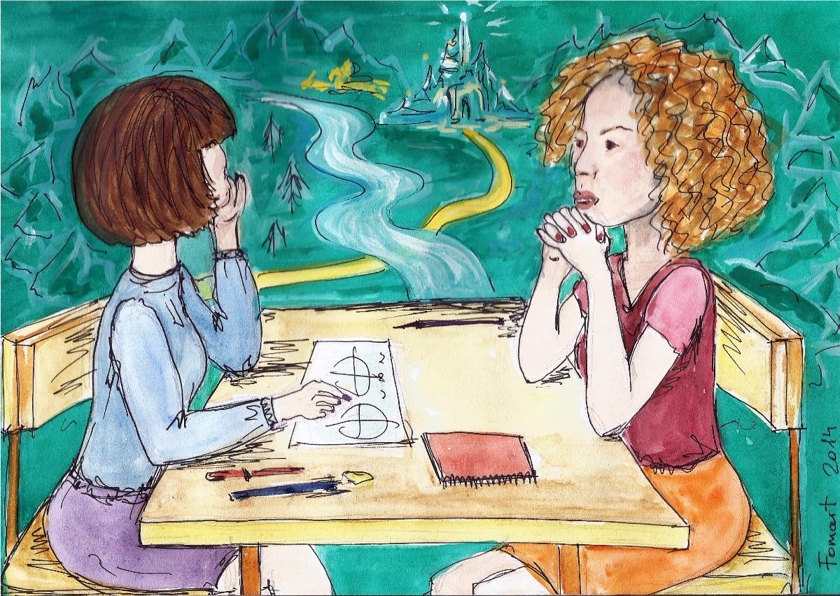 Две женщины за столом. На столе бумаги и карандаши.